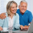 Happy Couple Using Laptop — Stockfoto