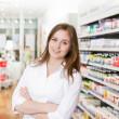 Female Pharmacist at Pharmacy Store — Stock Photo