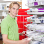 Man at Drugstore — Stock Photo