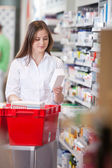 Female Holding Medicine Box — Stock Photo