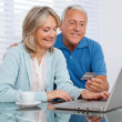 Couple Shopping From Home - Stock Photo