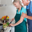 Couple Cooking Food in Kitchen — Stock Photo