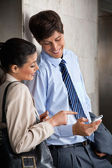 Man Sharing Text Message With Colleague — Stock Photo