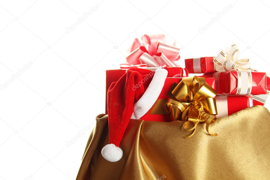 Sack of gold color filled to the brim with Christmas gifts. Isolated on a white background — Stock Photo #6885955