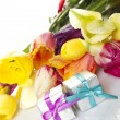 Tulips and two gift box — Stock Photo