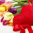 Tulips and red heart — Stock Photo #7365929