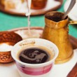 Strong arabic coffee served in a traditional way — Stock Photo