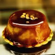 Creme caramel dessert in a shop display - Stock Photo