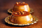 Creme caramel desserts closeup — Stock Photo