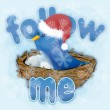 Foto de Stock  : Twitter bird with snowflakes