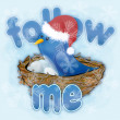 Twitter bird with snowflakes — Foto de Stock