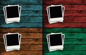 Polaroid frames over colorful wooden walls_2 — Stock Photo