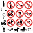 Stock Vector: Prohibitory signs.