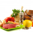Fresh vegetables and beef - Stockfoto