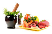 Fresh vegetables and beef — Stock Photo