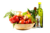 Fresh vegetables and oil — Stock Photo