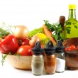 Fresh vegetables, spice  and oil - Stock Photo