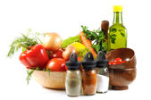 Fresh vegetables, spice and oil — Stock Photo