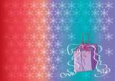 Färgad bakgrund med fallande snöflingor och gåva — Stockvektor