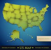 Carte des etats-unis avec chacun des 50 états séparés — Vecteur