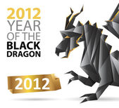 2012 poster with an origami dragon — Stock Vector