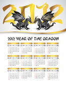 2012 calendar with black dragons — Stock Vector
