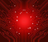 Circuit board vector red background — Stock Vector