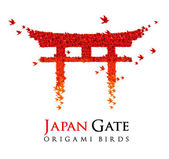 Japan origami gate Torii shaped from flying birds — Stock Vector