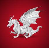 Vector dragon origami — Stock Vector