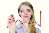 Business woman drowing growth and success graph — Stock Photo
