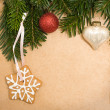Stock Photo: Vintage Christmas background with green fir tree, cookies and xm