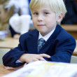 Stock Photo: Boy in classroom having fun learning. Primary school