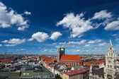 Munich, bavaria, germany. Red roofs and blue sky — Stock Photo
