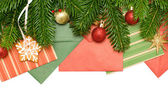 Green branch, gold star and red ball - Christmas Background — Stock Photo