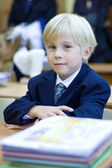 Boy in the classroom having fun learning. Primary school — Stock Photo