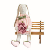 Happy easter bunny - rabbit toy isolated — Stock Photo