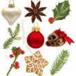 Set of Christmas holly, red ball, green spruce — Stock Photo #7363523