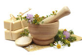 Herbal treatment - camomile, tutsan and cosmetics — Stock Photo
