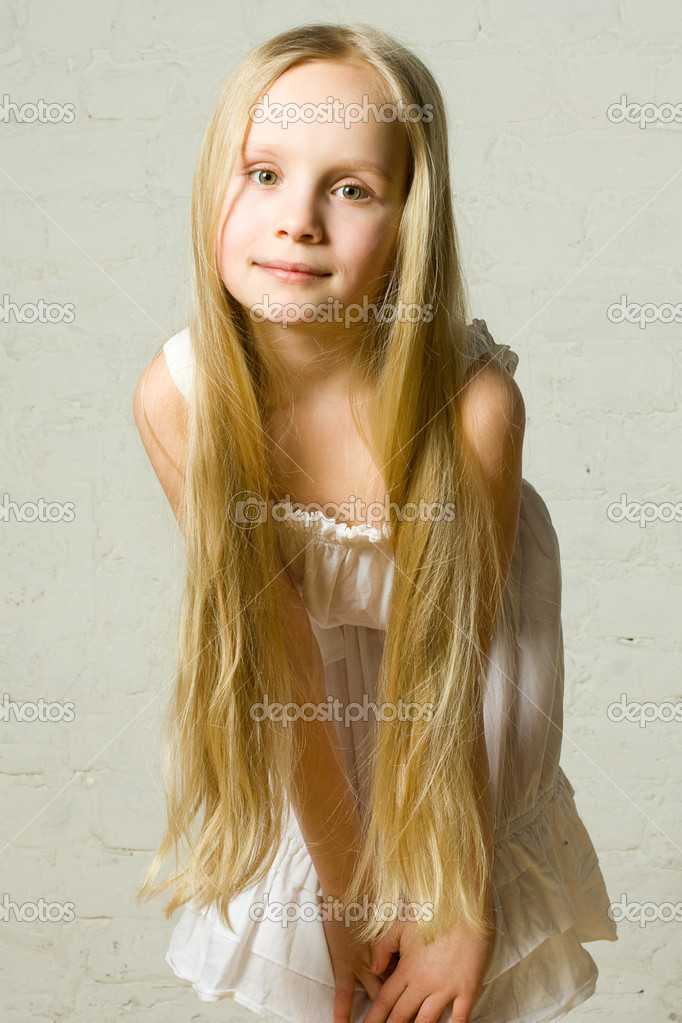 Smiling Child Girl With Long Blond Hair Portrait Stock