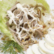 Gourmet food close-up - meat salad — Stock Photo