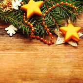 Christmas retro background with decoration and Xmas tree branch — Stock Photo