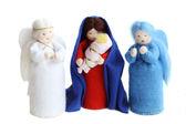 圣诞节耶稣降生-圣玛莉,耶稣宝宝和孤立的天使 — 图库照片