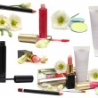 Cosmetics isolated on white - spring makeup - Stockfoto