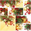 Christmas background - set from red decoration, gold star, Xmas — Stok Fotoğraf #7853698