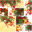 Christmas background - set from red decoration, gold star, Xmas — Stock fotografie