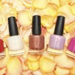 Nail polish in rose petals - beauty background — ストック写真