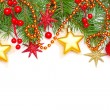 Stock Photo: Christmas concept - Xmas tree branch and decoration isolated on