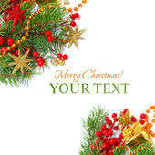 Jul gränsen - gröna gren, röda stjärnor och guld dekoration — Stockfoto