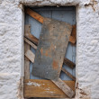 Old boarded up window frame background -  