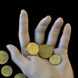 Spare change worn hand holding money coins — Stock Photo #7868757